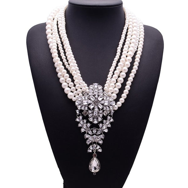 Choker Necklace Fashion Crystal Statement Necklace Droplets Long Jewelry