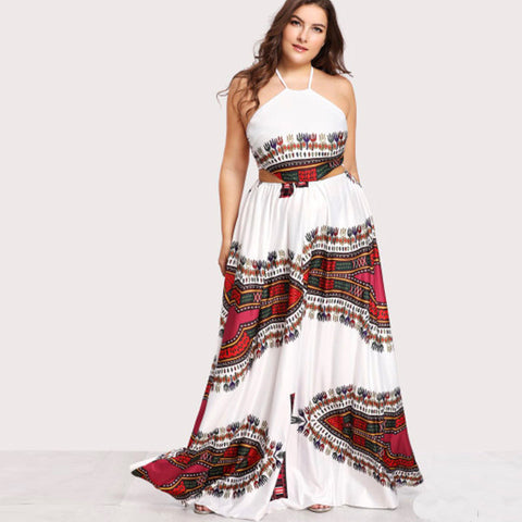 Summer White Print Flower Beach Dress Kafftan Long Maxi Criss Cross