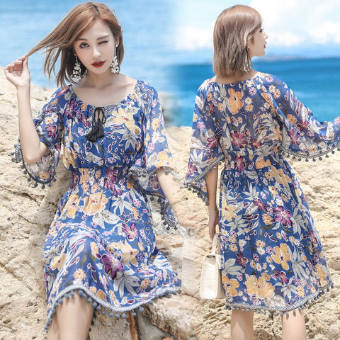 Half Sleeve Dress White Tropical Print Vintage Blue Dresses