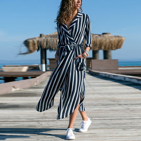 Women 2018 New Fashion Casual Dress Autumn Striped Sashes Vintage Blazer