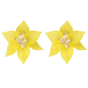 Yellow flower earring handmade crystal acrylic earrings women