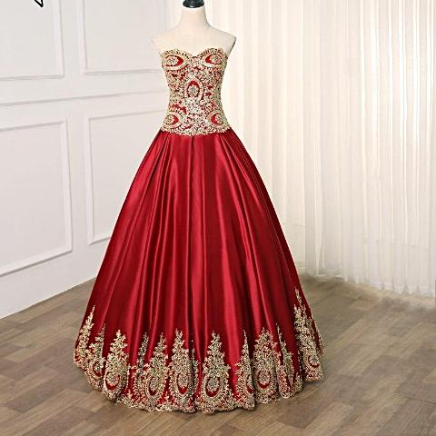 Elegant Burgundy Satin Prom Dress