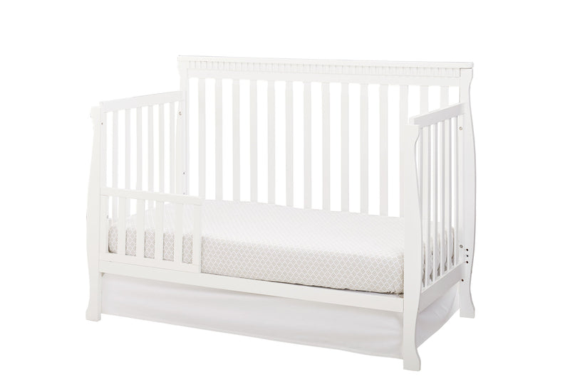 Emery Convertible Slat Crib with Toddler Rail - White