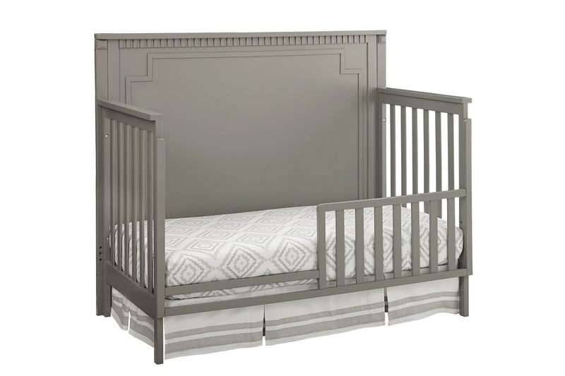 Emery Convertible Panel Crib with Toddler Guard Rail Package - Grey