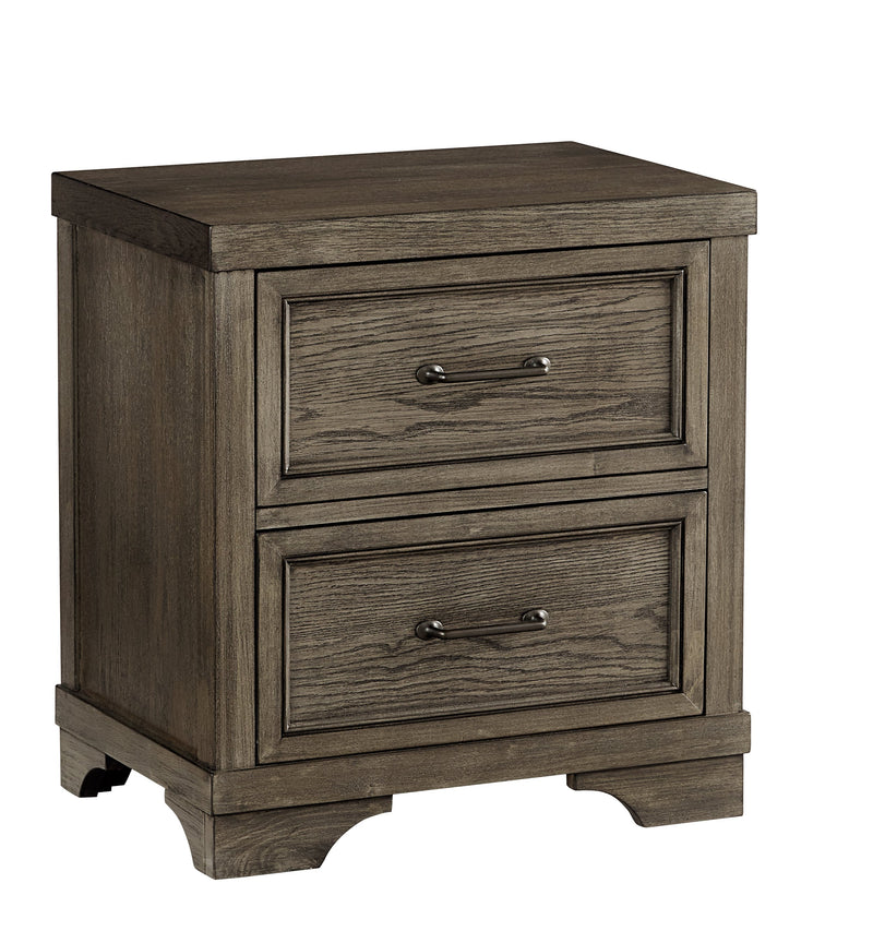 Foundry 2-Drawer Night Stand - Brushed Pewter