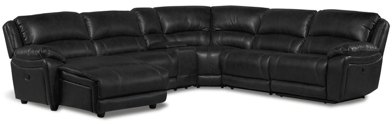 Santorini 6-Piece Power Reclining Sectional with Left-Facing Chaise - Black