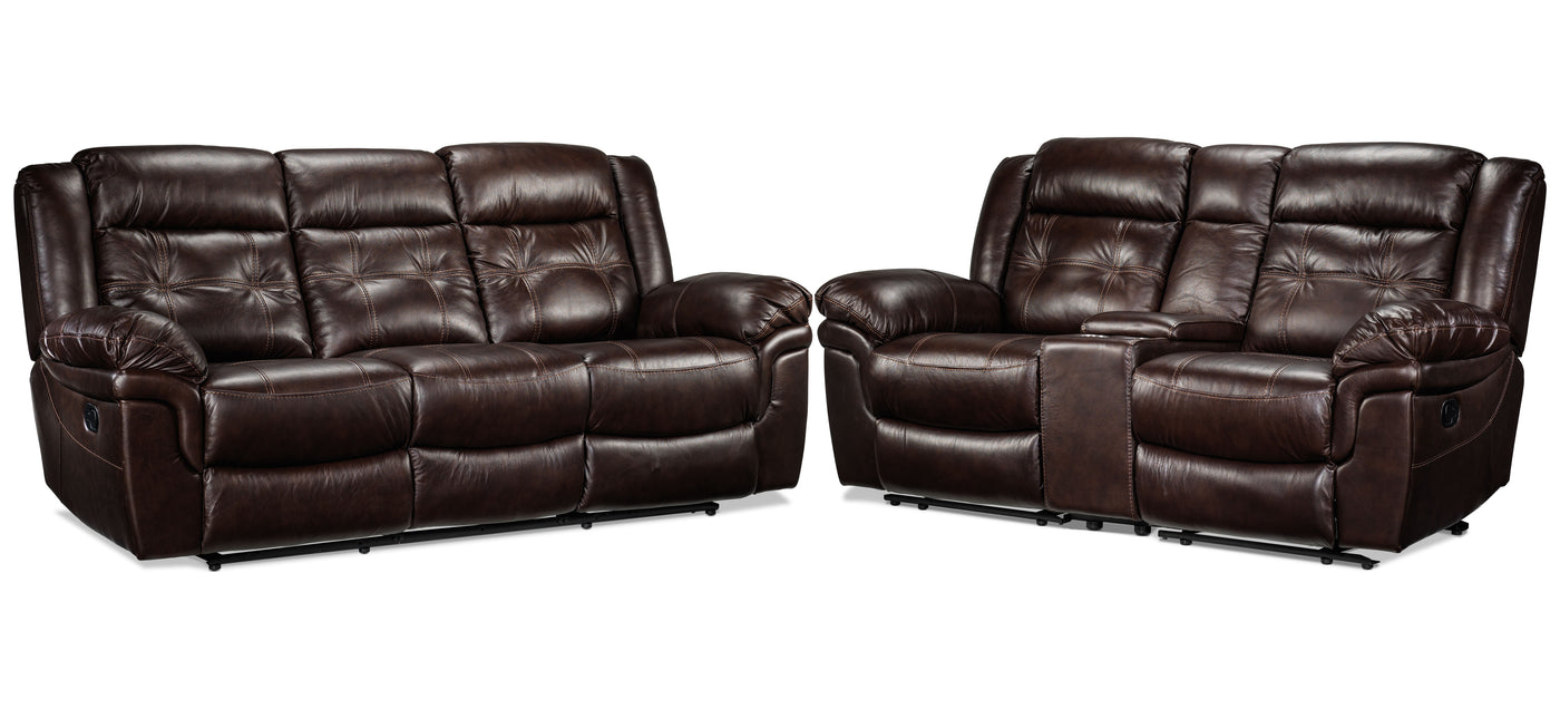 Picture of: Cooper Reclining Sofa And Reclining Loveseat With Console Set Brown Leon S