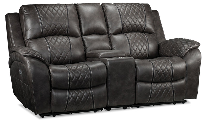 Wesley Dual Power Reclining Loveseat with Console - Granite