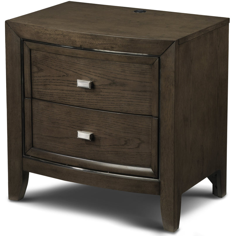 Aberdeen 2-Drawer Night Stand with USB Plug - Barista Oak
