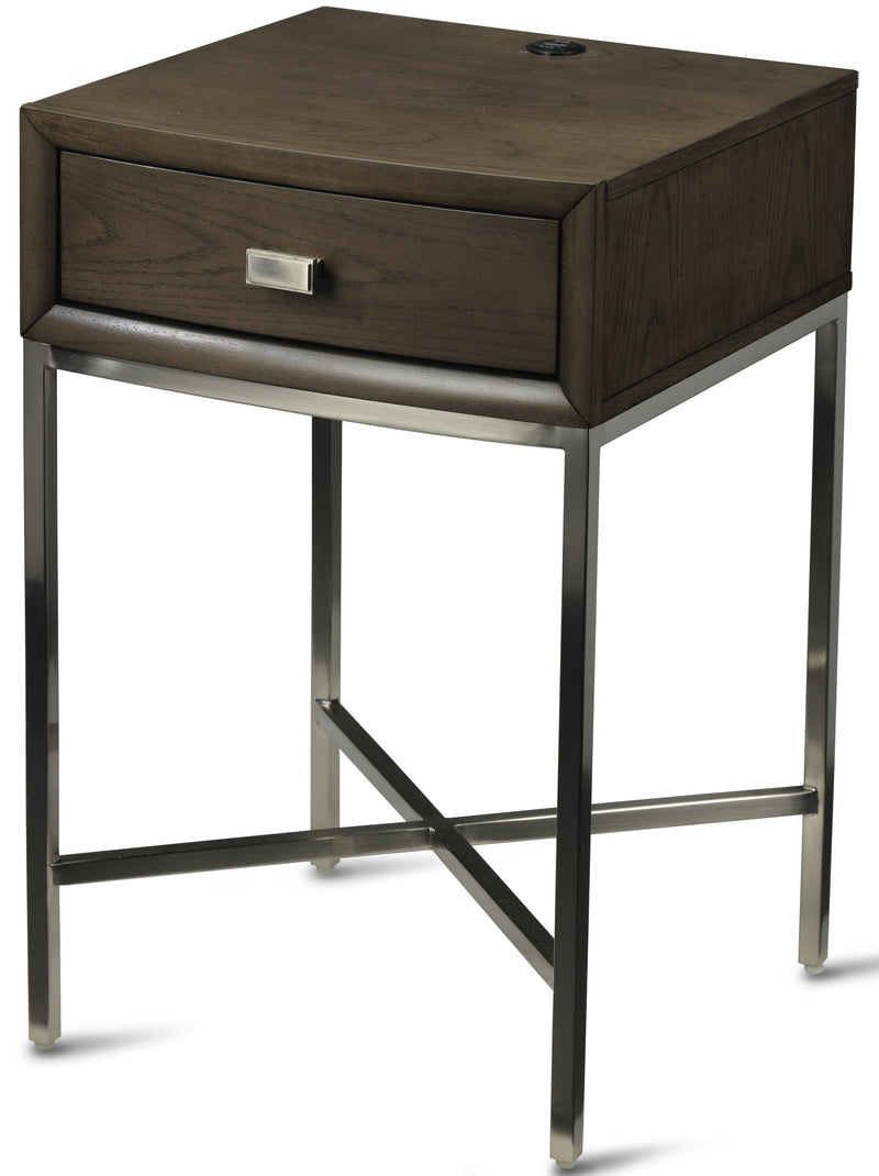 Aberdeen 1-Drawer Night Stand with Metal Base - Barista Oak