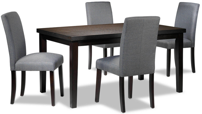 Toby 5-Piece Dinette Set - Espresso and Grey