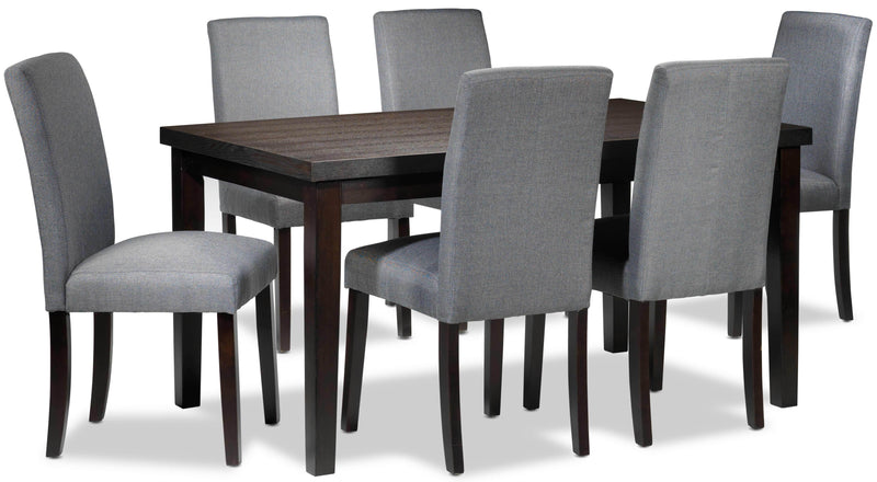 Toby 7-Piece Dinette Set - Espresso and Grey