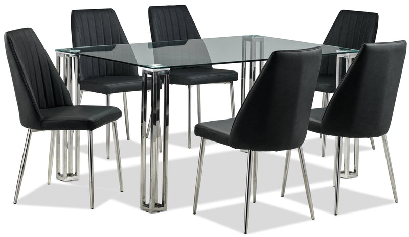 Kattie 7-Piece Dinette Set - Grey and Stainless Steel