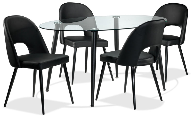Oscar 5-Piece Dinette Set - Black