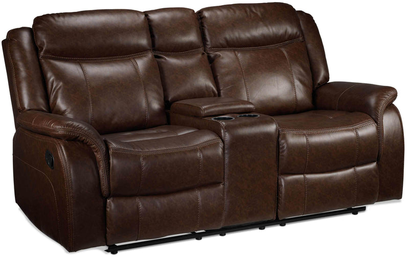 Scorpio Reclining Loveseat with Console - Whiskey Brown