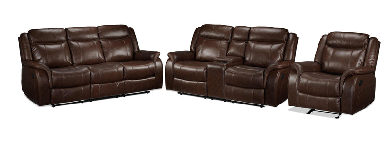 Scorpio Reclining Sofa, Reclining Loveseat and Glider Recliner - Whiskey Brown