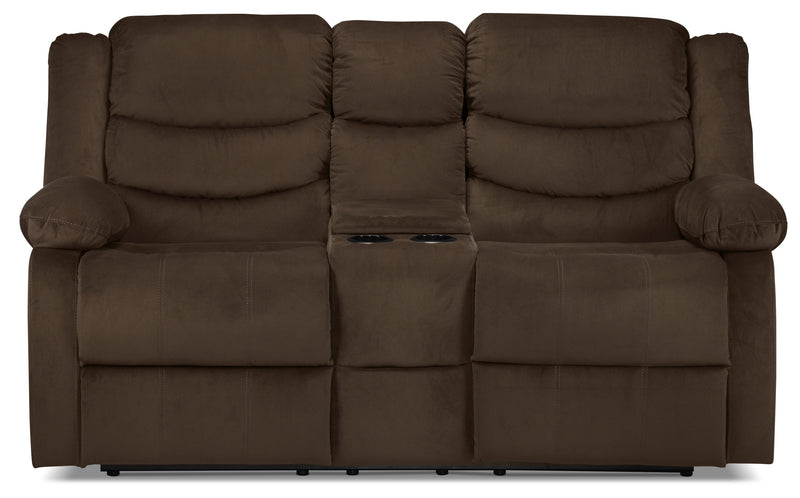 Logan Power Reclining Loveseat with Console - Chocolate Brown