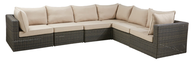 Asheville Outdoor 6-Piece Sectional - Weathered Grey