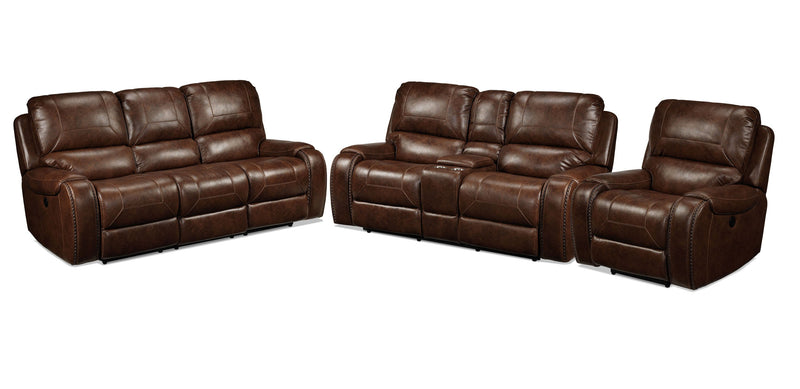 Jennings Power Reclining Sofa, Power Reclining Loveseat and Power Recliner - Mesquite Brown
