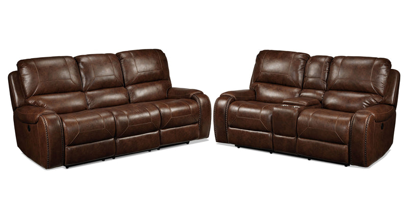 Jennings Power Reclining Sofa and Power Reclining Loveseat - Mesquite Brown
