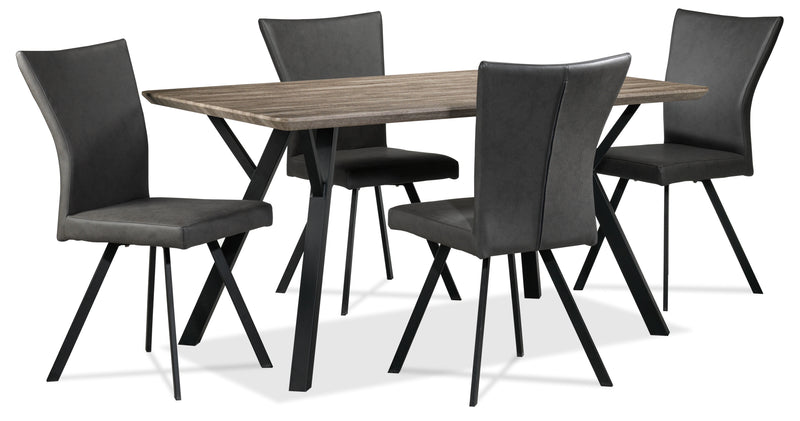 Chuck 5-Piece Dinette Set - Woodgrain