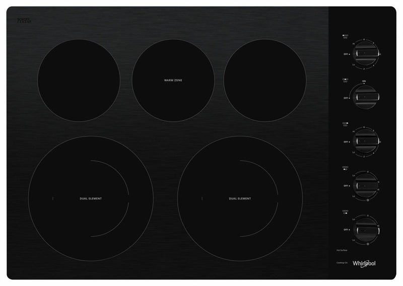 "Whirlpool Black 30"" Electric Cooktop - WCE77US0HB"