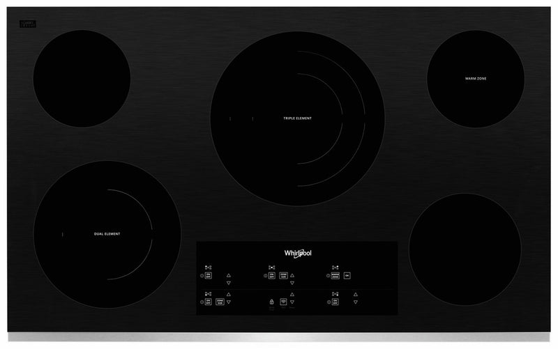 "Whirlpool Stainless Steel 36"" Smart Electric Cooktop - WCE97US6HS"