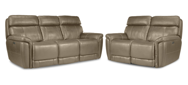 Stallion Dual Power Reclining Sofa and Loveseat Set - Pebble