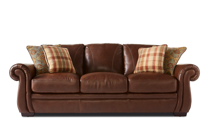 Laird Sofa and Chair Set - Brown Cherry
