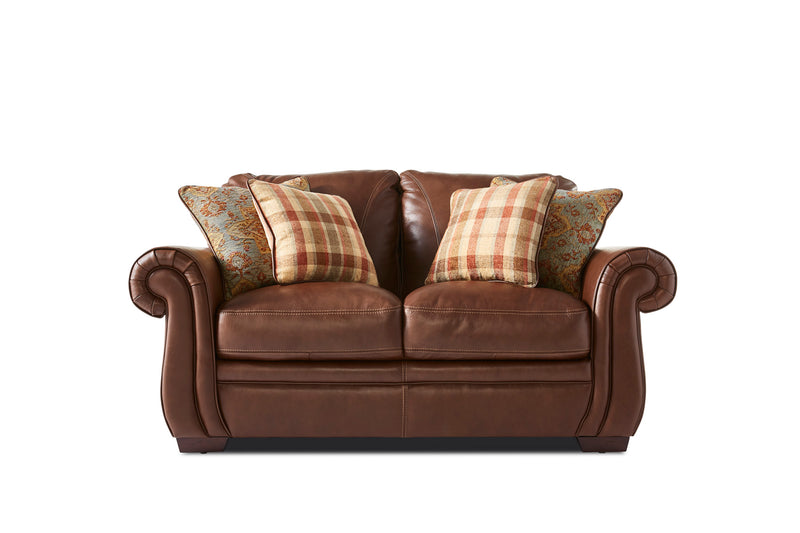 Laird Sofa and Loveseat Set - Brown Cherry