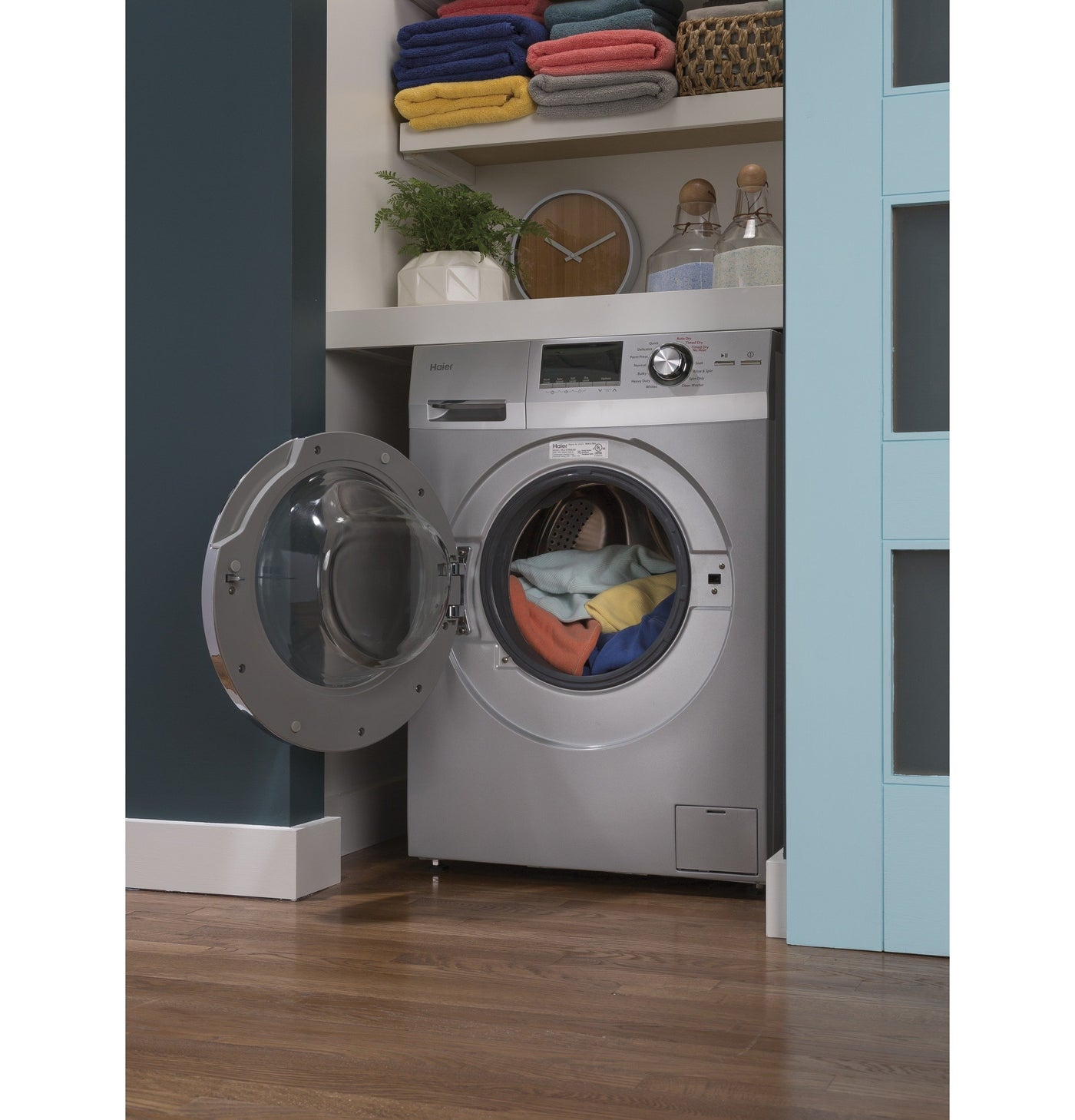 HLC1700AXS Haier 24-Inch Wide Front Load Washer And Dryer Combination Silver
