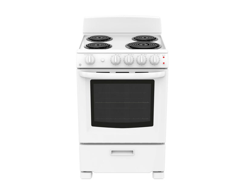 "GE 24"" White Freestanding Electric Range (2.9 Cu. Ft.) - JCAS300DMWW"