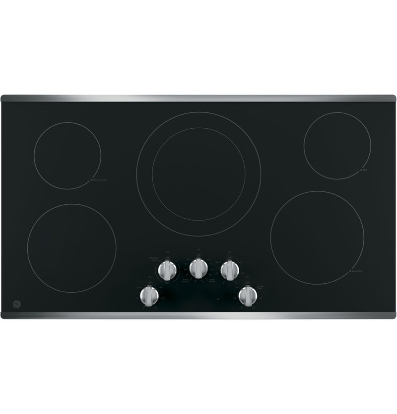 "GE Stainless Steel 36"" Electric Cooktop - JP3036SLSS"