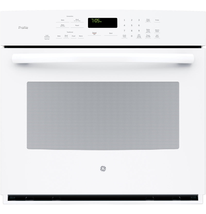 "GE Profile 30"" White Electric Convection Single Wall Oven (5.0 Cu. Ft.) - PT705DFWW"