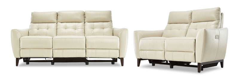 Wexner Dual Power Reclining Sofa and Loveseat Set - Colby Stone