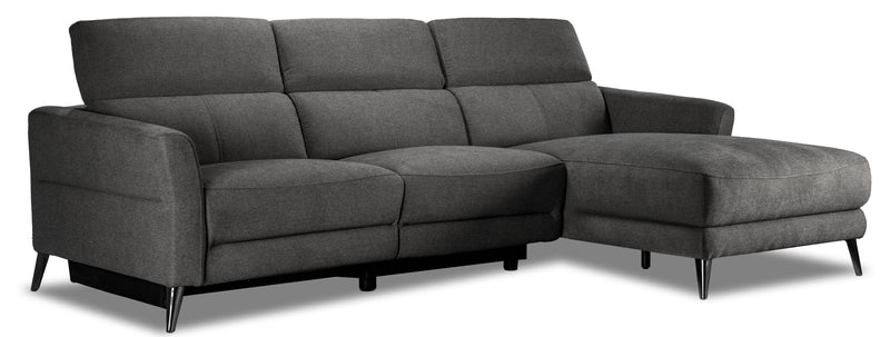 Francesca 2-Piece Power Reclining Sectional with Right-Facing Chaise - Starburst Metal