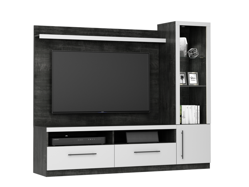 Joshua 3-Piece Entertainment Wall Unit - White and Dark Grey