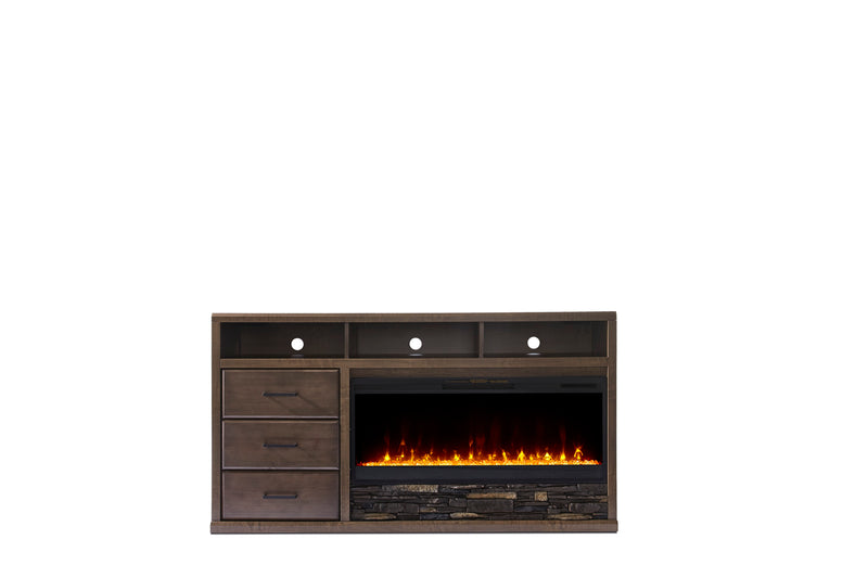 Duncan 2-piece Fireplace TV Stand - Light Brown