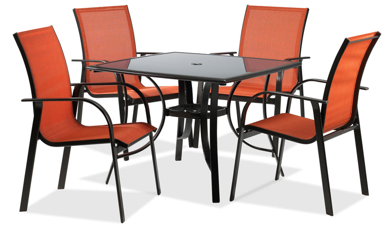Seabrook 5-Piece Outdoor Dining Set - Burnt Orange