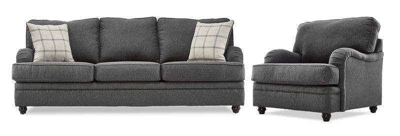 Murphy Sofa and Chair Set - Charcoal