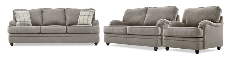 Murphy Sofa, Loveseat and Chair Set - Pewter