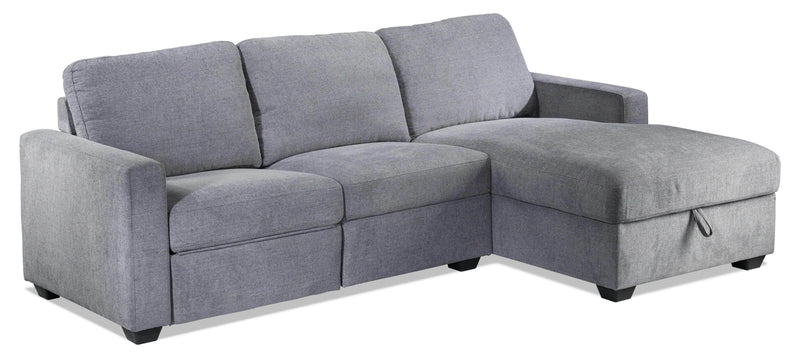 Oats 2-Piece Reclining Sectional with Right-Facing Chaise and Storage - Grey