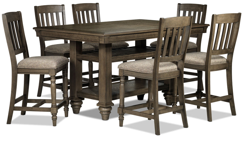 Bilboa 7-Piece Counter Height Dining Room Set - Roasted Oak