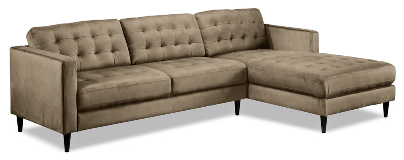 Paragon 2-Piece Sectional with Right-Facing Chaise - Taupe