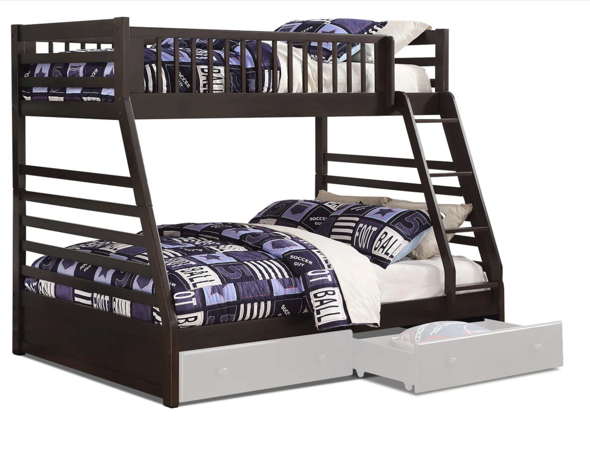 Picture of: Starship Twin Over Full Bunk Bed Grey Espresso Leon S