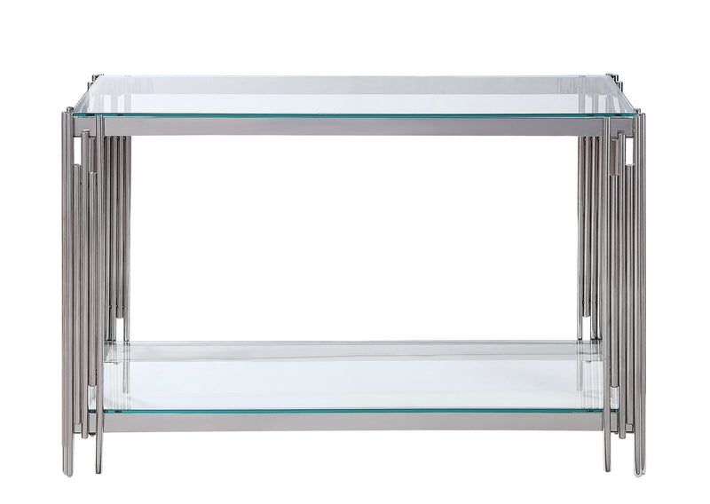 Liana Sofa Table - Glass and Stainless Steel