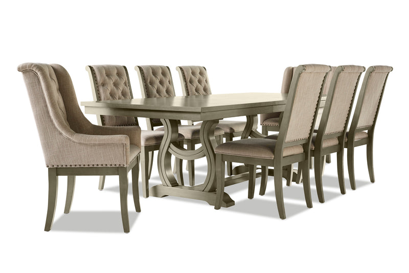 Cleopatra 9-Piece Dining Room Set - Oak
