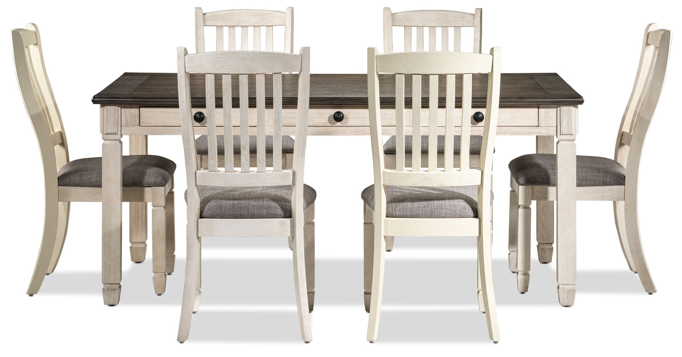 Harold 7 Piece Dinette Set Antique White Leon S