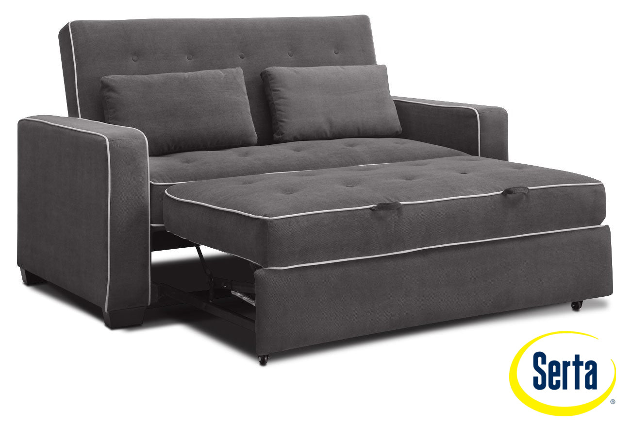 Augustine Sofa With Full Size Pop Up Bed Grey Leon S