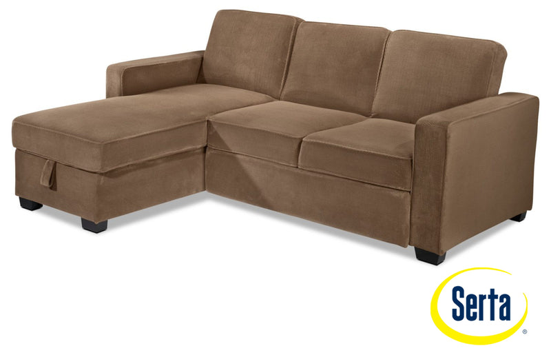 Chaela Chaise Sofa with Pop-Up Bed - Light Brown